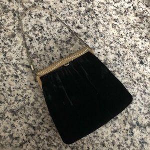 Vintage Black Velvet Handbag Masquerade Evening